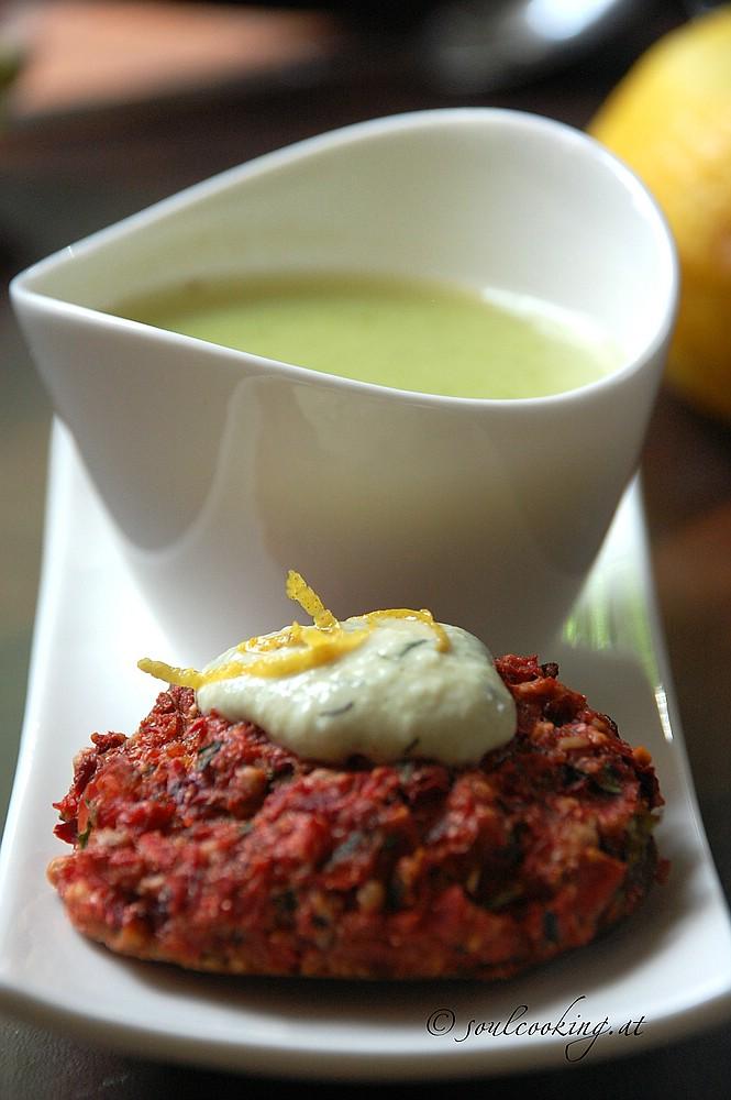 Gemüselaibchen mit erbsen minz suppe